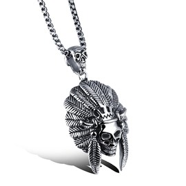 Ericdress Indian Chieftains Skull Pendant Necklace for Men