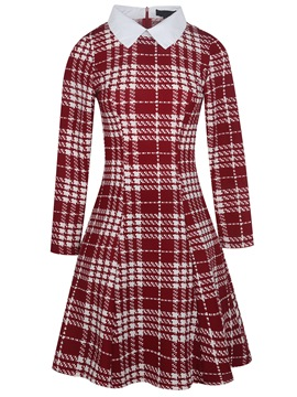 Ericdress Lapel Plaid Color Block A Line Dress