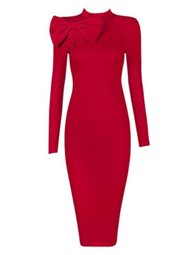 Ericdress Stand Collar Long Sleeve Bow Pencil Sheath Dress