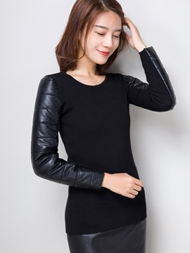 Ericdress Slim Patchwork Plain Knitwear