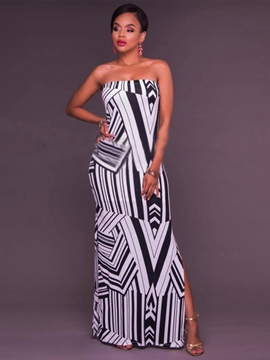 Ericdress Strapless Color Block Print Floor-Length Maxi Dress