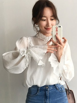Ericdress Plain Stand Collar Flare Sleeve Shirt
