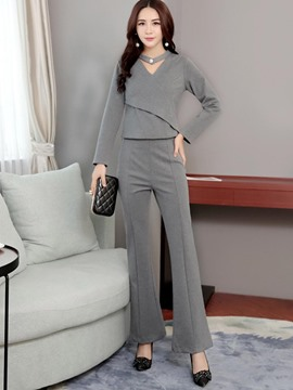 Ericdress V-Neck T-Shirt and Bellbottoms Women's Suit