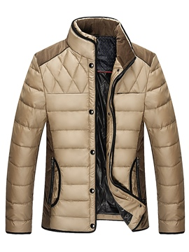 Ericdress Stand Collar Patchwork Men's Winter Coat