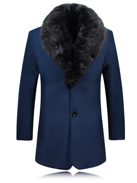 Ericdress Faux Fur Collar Slim Men's Trench Coat