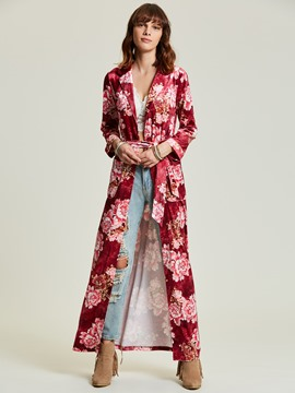 Ericdress Notched Lapel Lace-Up Flora Long Jacket