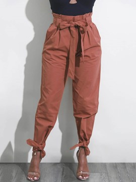Women's Clothing Bowknot Loose Plain Pants