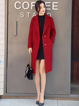 Ericdress Notched Lapel Hidden Button Mid-Length Coat