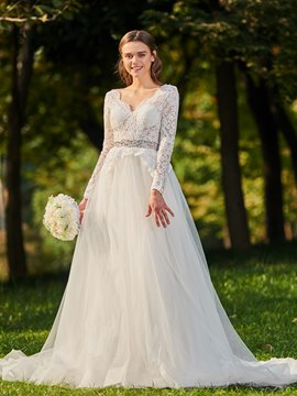 Ericdress Long Sleeves Backless Tulle Wedding Dress