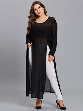 Ericdress Plus-Size See-Through Long Tee
