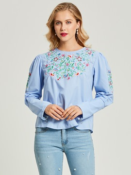 Ericdress Round Neck Floral Embroideried Pullover Women's Blouse