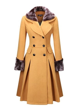 Ericdress Notched Lapel Slim Double-Breasted Coat