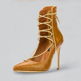 Ericdress Fashion PU Lace-Up Plain High Heel Boots