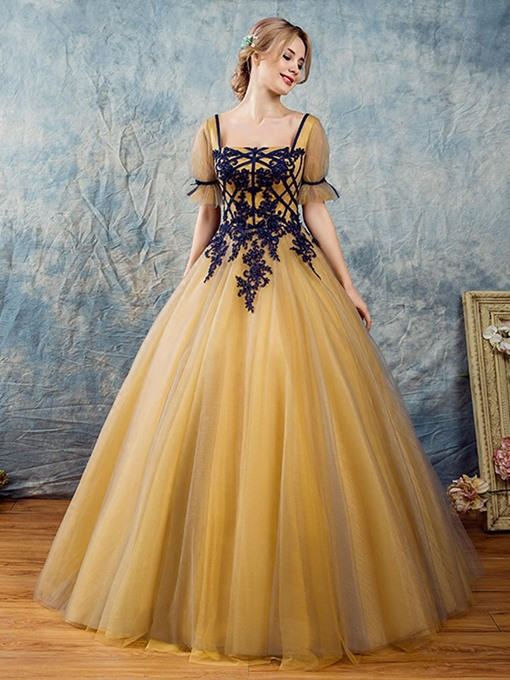 Ericdress Appliques Beading Short Sleeves Square Quinceanera Dress