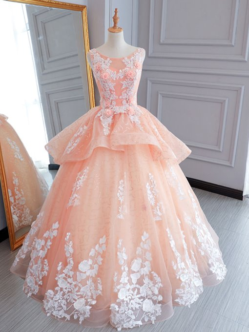 Ericdress Scoop Neck Appliques Flowers Ball Quinceanera Dress