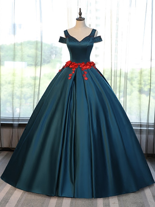 Ericdress Appliques Off-the-Shoulder Pearls Short Sleeves Quinceanera Dresses