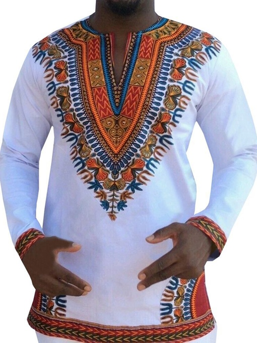 Ericdress African Fashion Dashiki Print V-Neck Loose Mens T-shirt