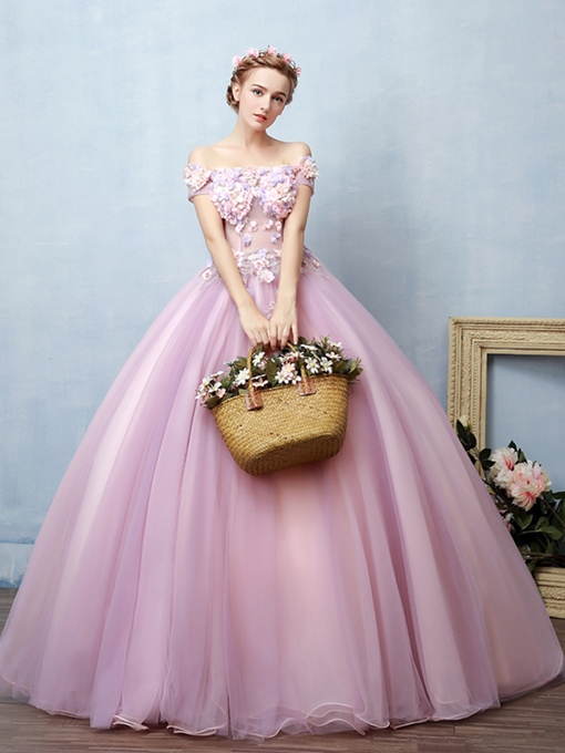 Ericdress Appliques Flowers Off-the-Shoulder Quinceanera Dress