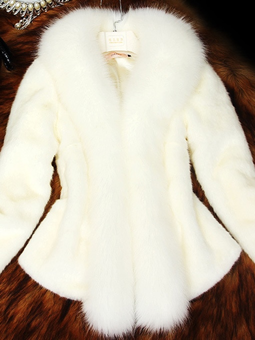 Ericdress Plain Thick Patchwork Faux Fur Coat
