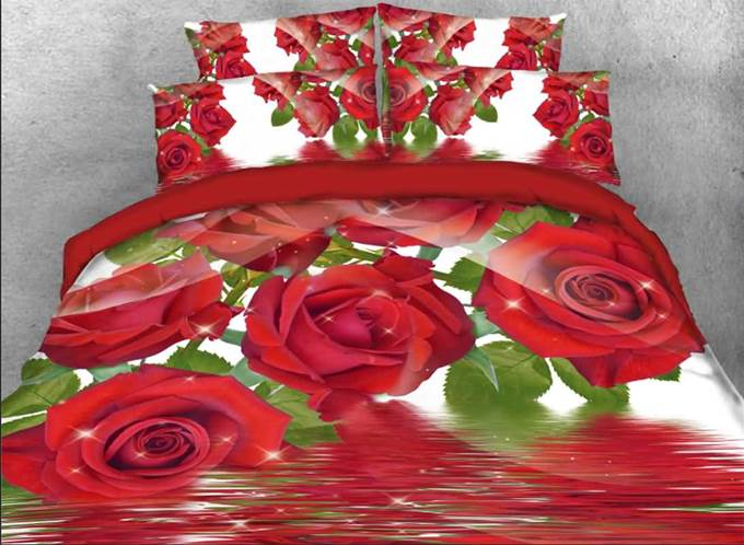Vivilinen Shining Red Roses Printed 4-Piece 3D Bedding Sets/Duvet Covers