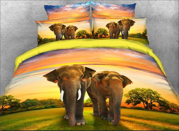 Vivilinen Couple Elephants Walking on Grassland Natural 4-Piece 3D Bedding Sets/Duvet Covers