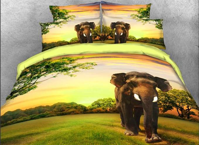 Vivilinen 3D Elephants through Green Forest Natural 4-Piece Bedding Sets/Duvet Covers
