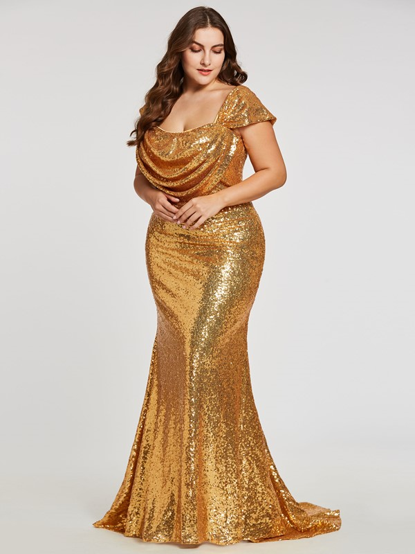 c1f82c3791984 Ericdress Sequins Mermaid Plus Size Evening Dress With Cap Sleeves ...