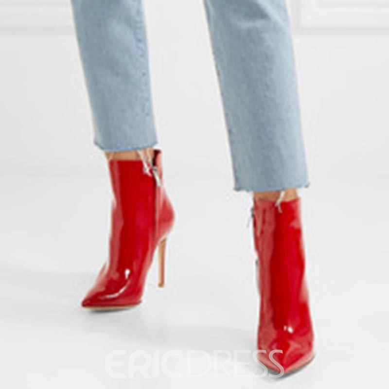 Ericdress Fashion Red Pointed Toe Stiletto Heel Boots
