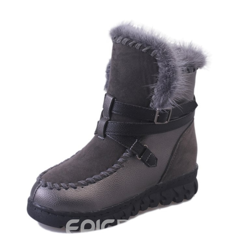 Ericdress Buckle Round Toe Slip-On Women's Snow Boots