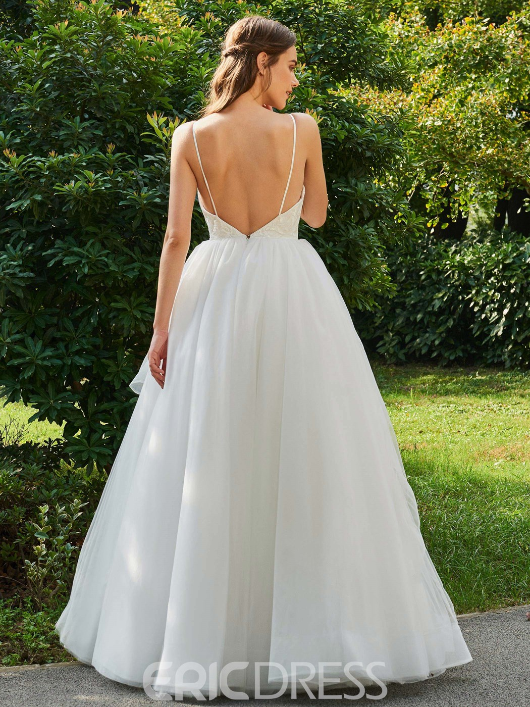 Ericdress Spaghetti Straps Ball Gown Tulle Wedding Dress