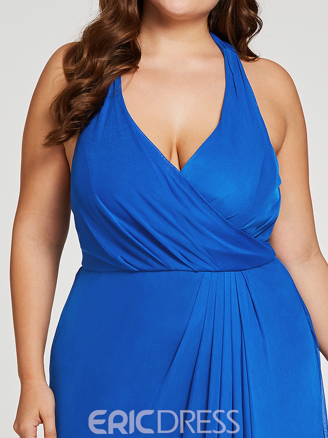 ericdress plus size halter neck pleats scheide langes abendkleid