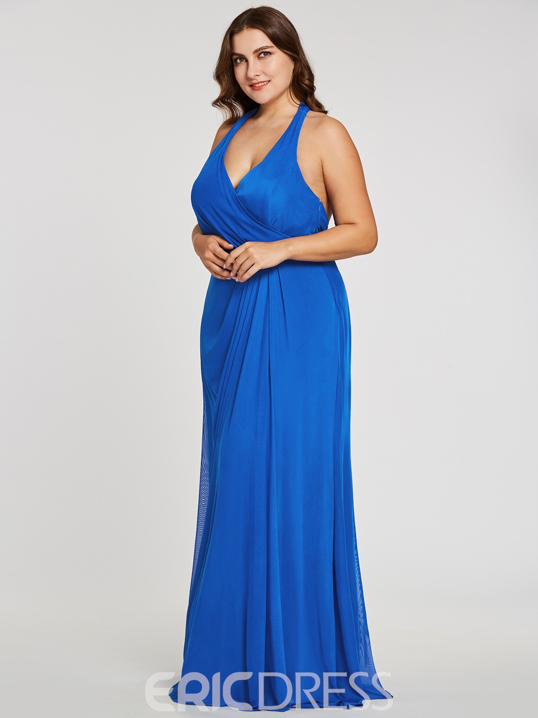 Ericdress Plus Size Halter Neck Pleats Sheath Long Evening Dress