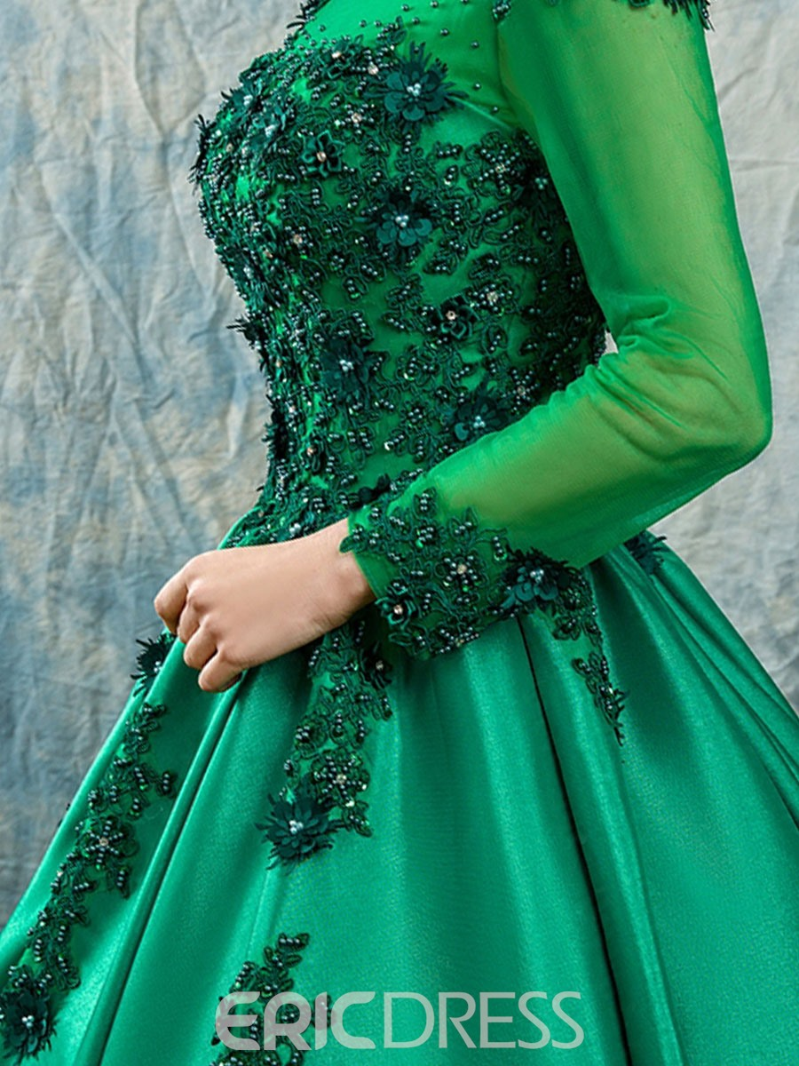 33f2a0ff5 ... Ericdress Scoop Appliques Beaded Long Sleeves Quinceanera Dress
