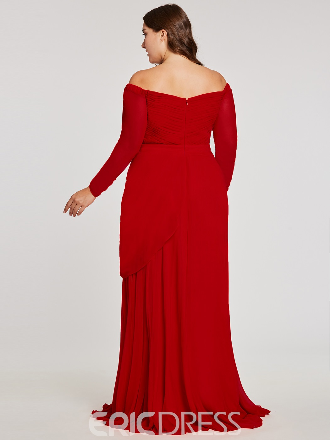 Ericdress Plus Size Off-the-Shoulder Long Sleeves Evening Dress ...