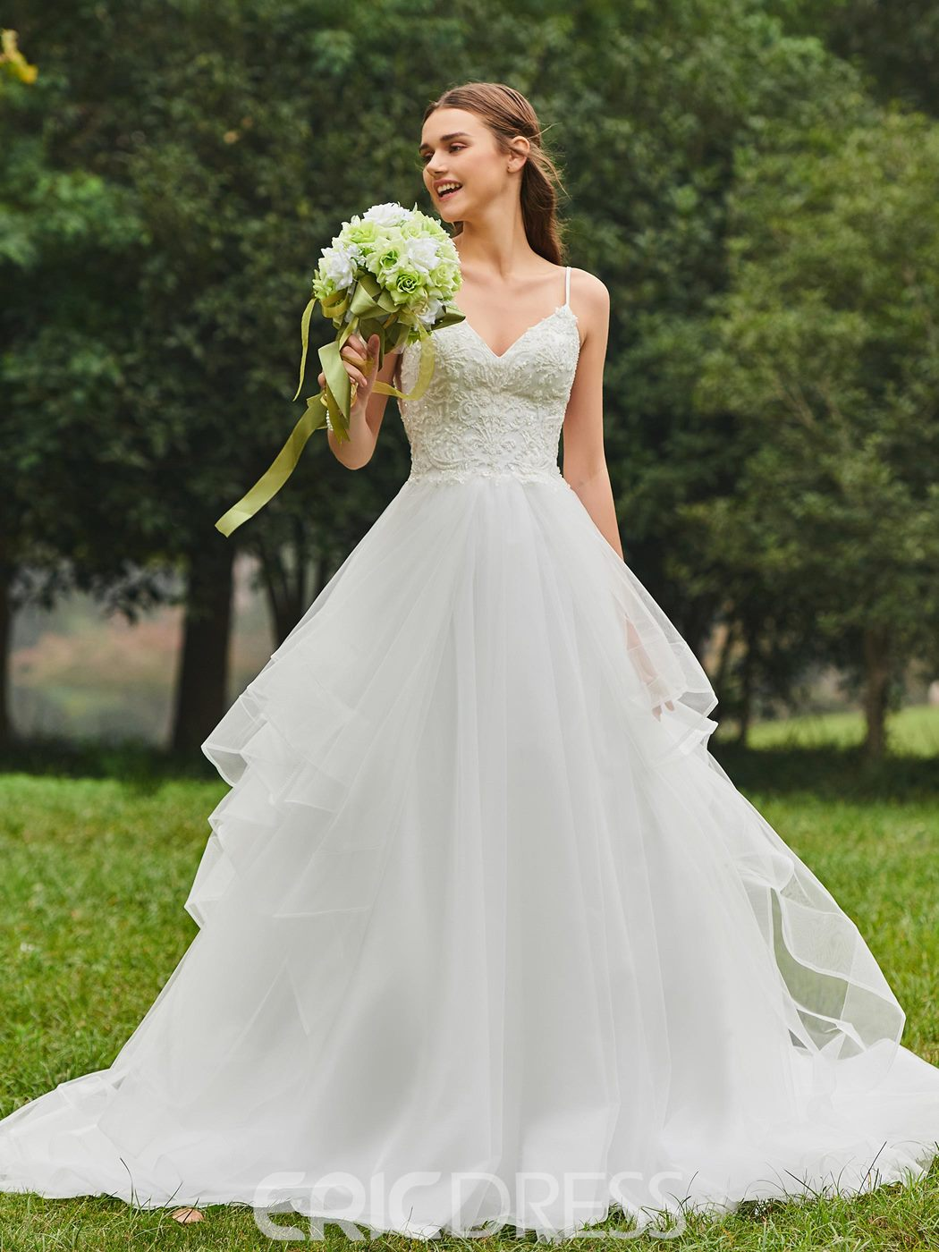 Ericdress Sweetheart Ball Gown Appliques Tulle Wedding Dress ...
