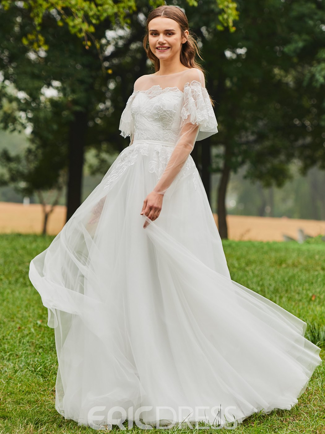 Ericdress Appliques Short Sleeves Country Wedding Dress