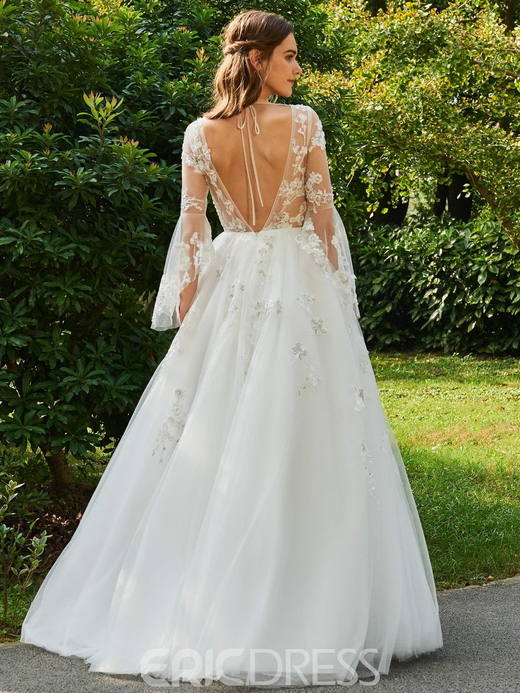 Ericdress V Neck Ball Gown Long Sleeves Tulle Wedding Dress ...