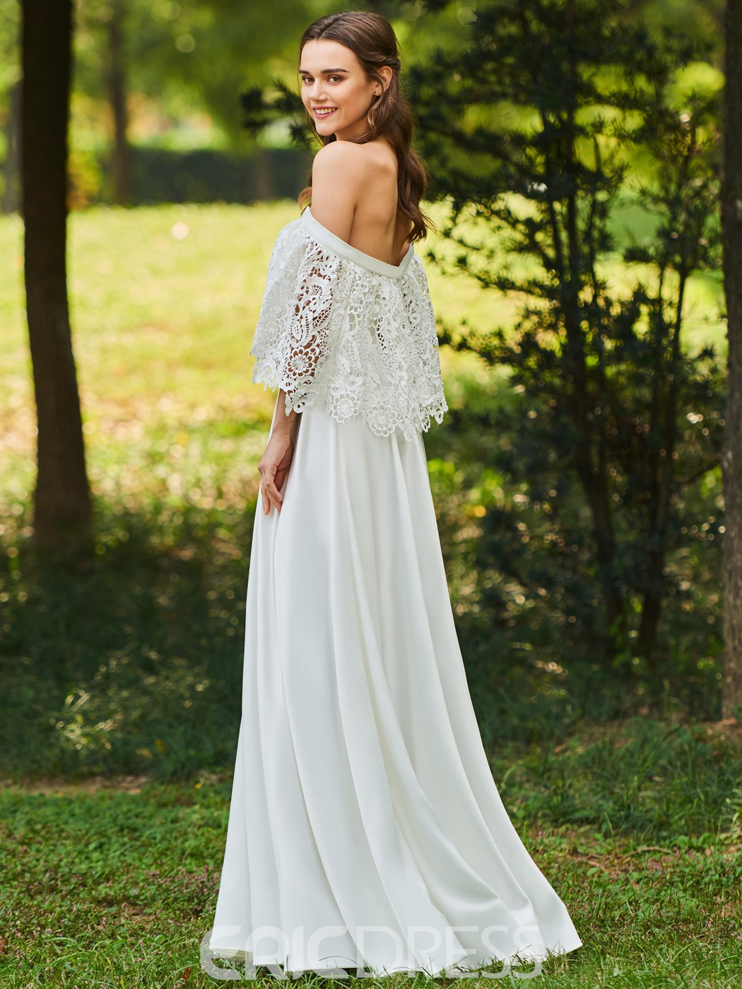 Ericdress Off the Shoulder Lace Beach Wedding Dress