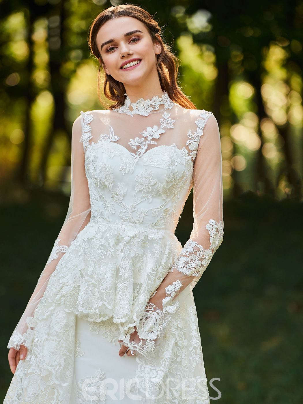 Ericdress High Neck Long Sleeves Wedding Dress