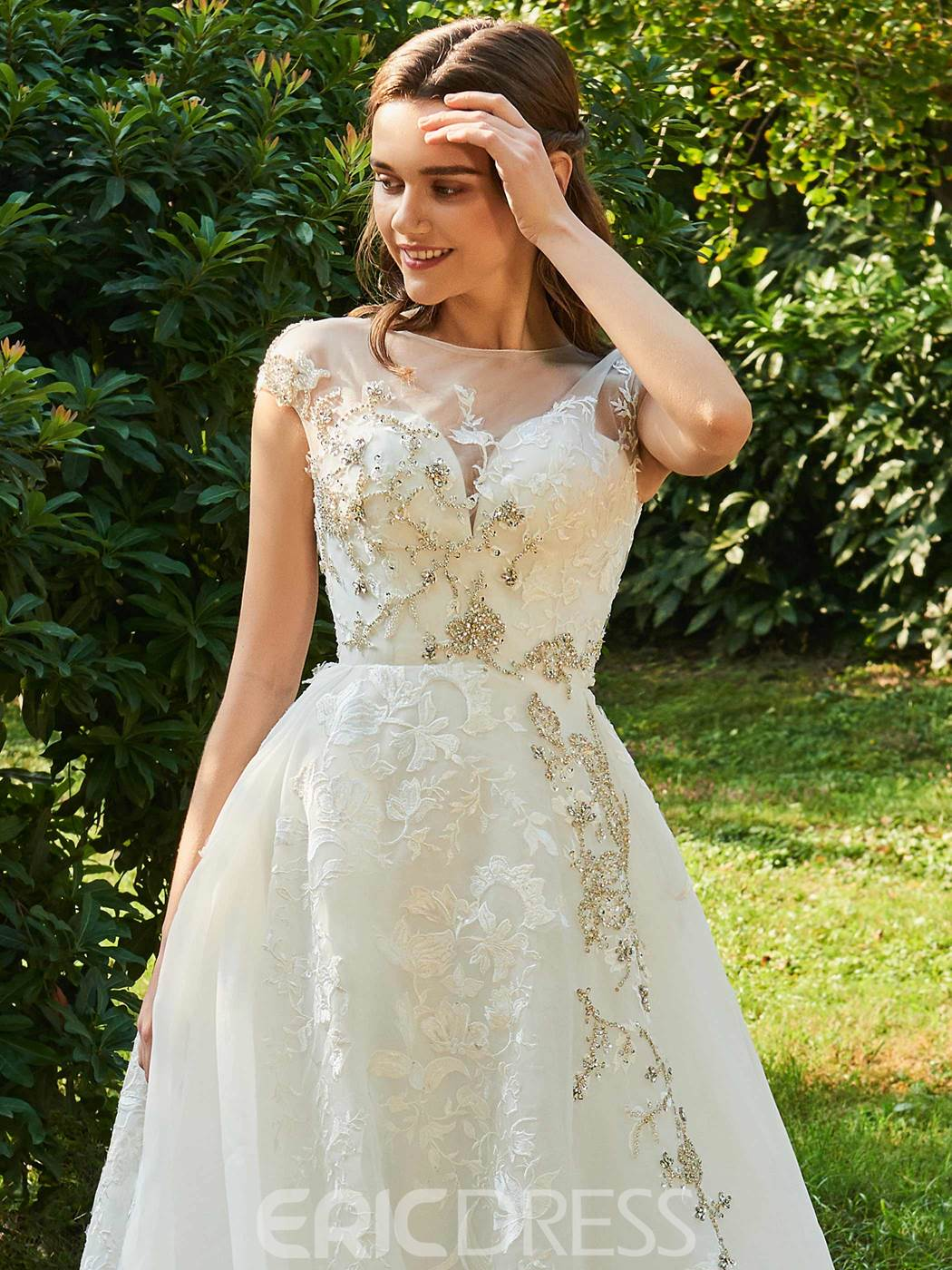 Ericdress Cap Sleeves Beading Appliques Lace Wedding Dress