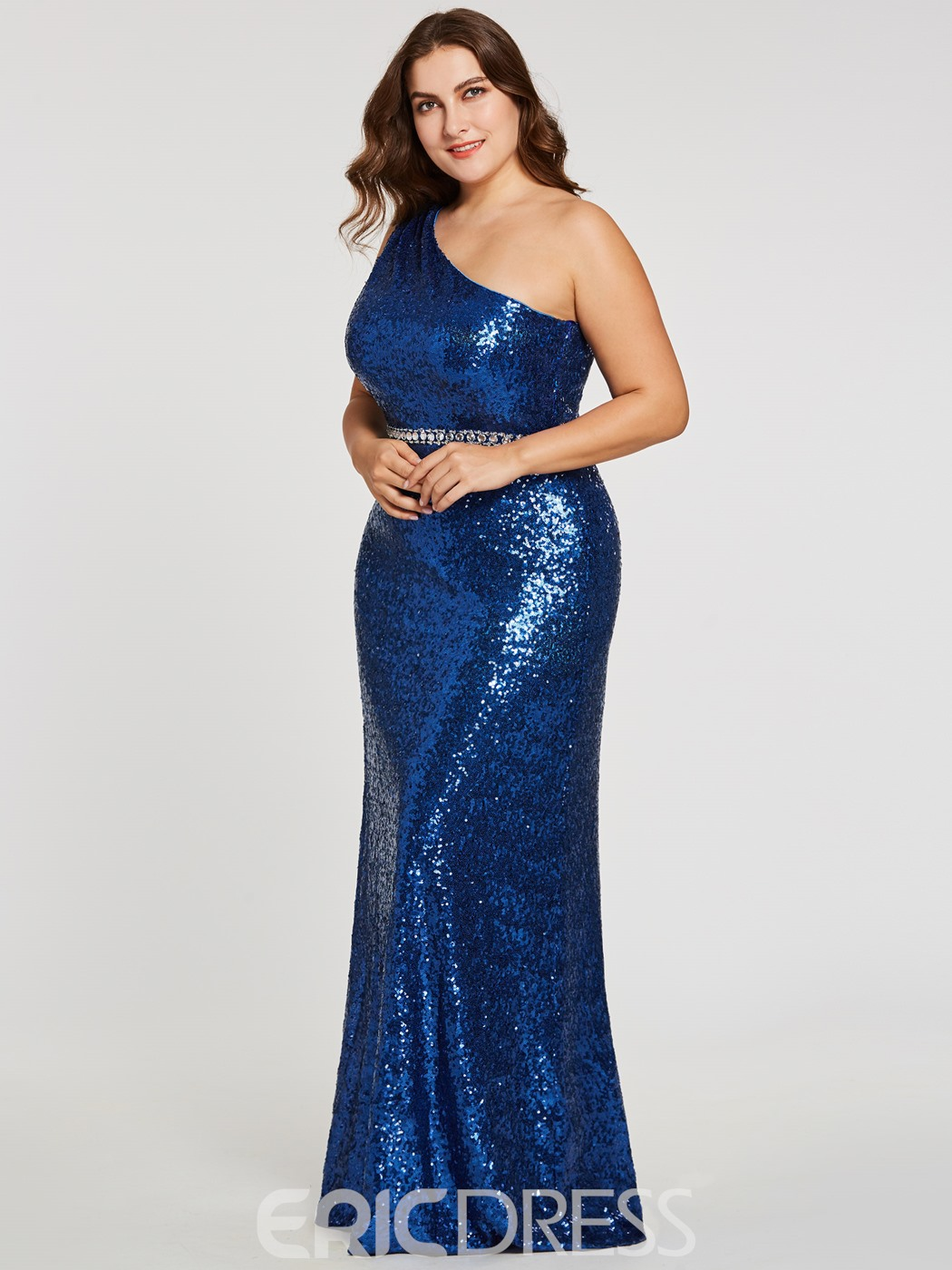 Ericdress Plus Size One Shoulder Sequins A Line Evening Dress