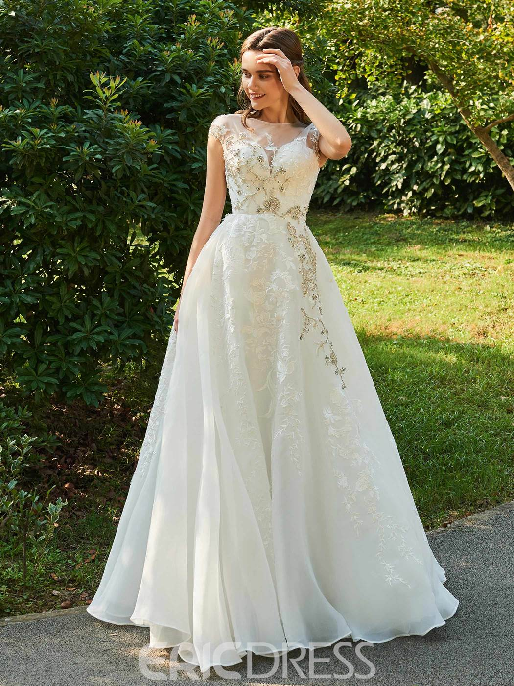 Ericdress Cap Sleeves Appliques Tulle Wedding Dress