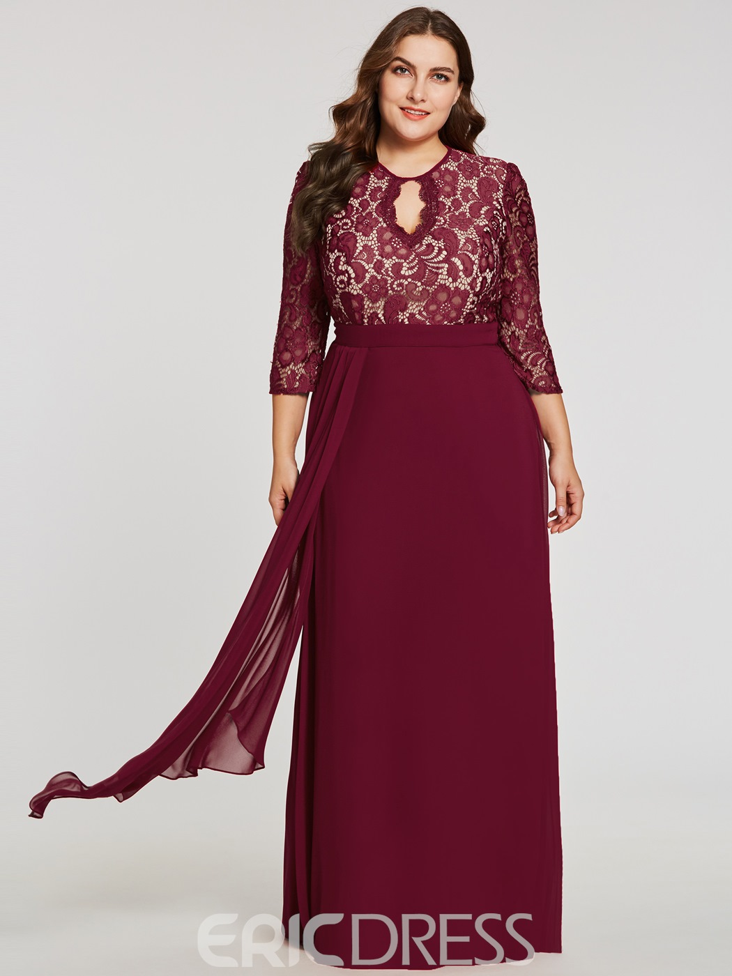 Ericdress Scoop Neck Backless Lace A Line Evening Dress