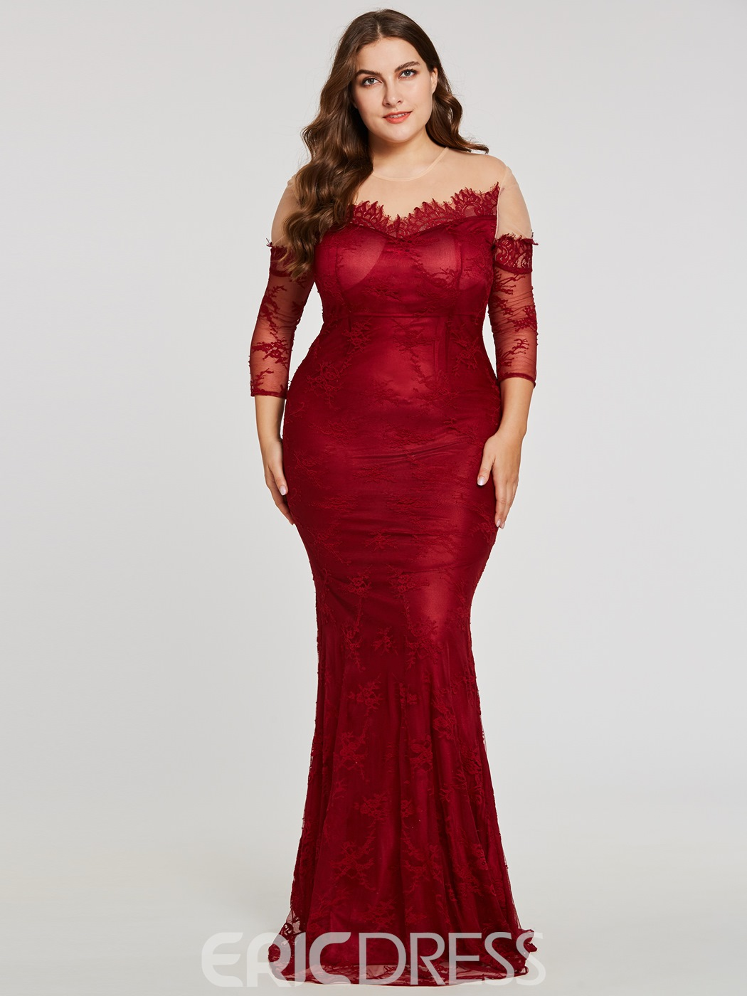 Ericdress Long Sleeves Plus Size Mermaid Evening Dress 13084791 ...