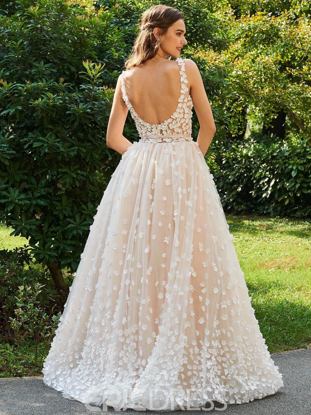 Ericdress Backless Lace Color Wedding Dress