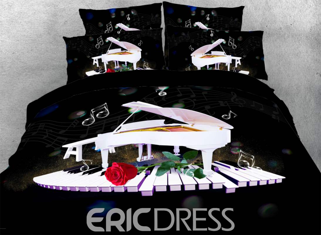 Vivilinen 3D White Piano Dancing on Keyboard with Red Rose 4-Piece Bedding Sets/Duvet Covers
