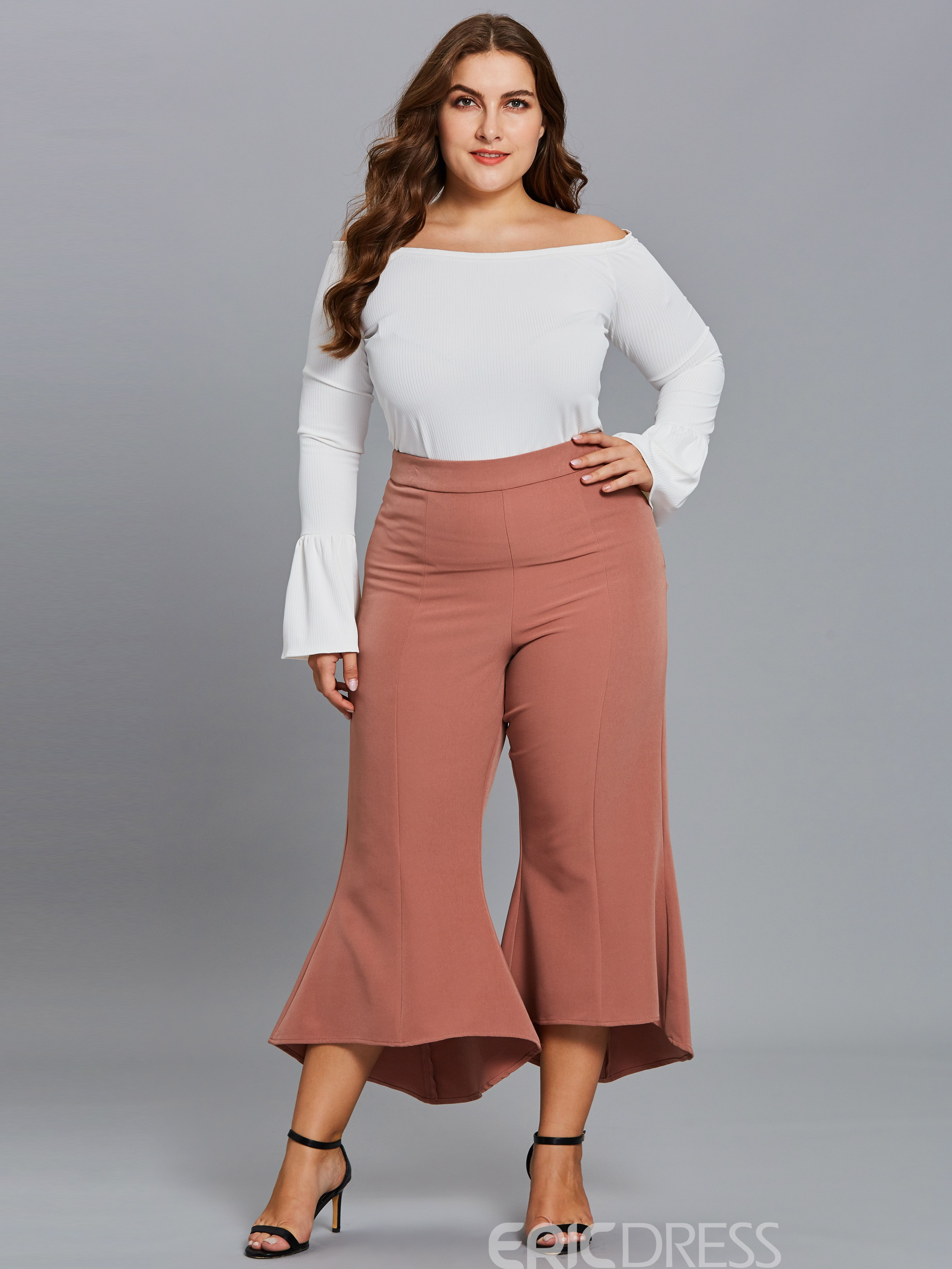 Ericdress Croppde Slim Wide Leg Women's Pants