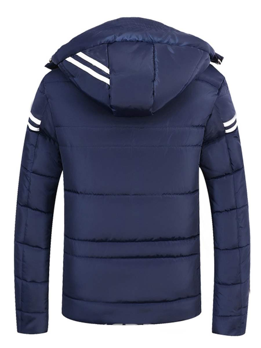 Ericdress Striped Hooded Thick Mens Zipper Down Jacket