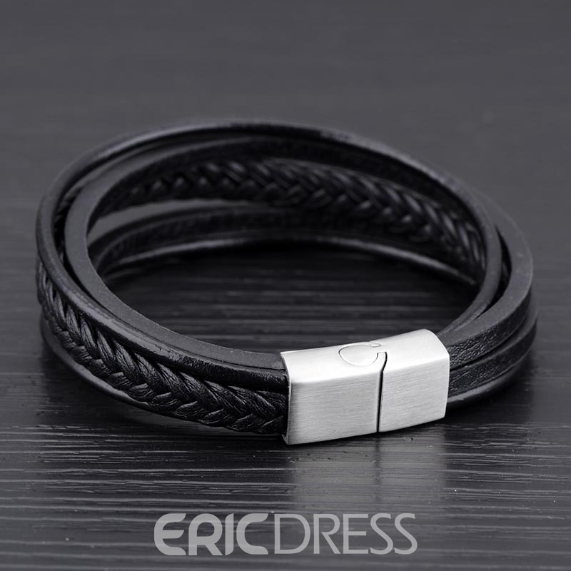 Ericdress Multilayer Black Leather Weave Bracelet for Men