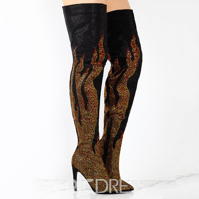 Ericdress Fashion Rhinestone Color Block Over-the-Knee Boots